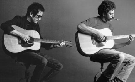 AJ Croce Sitting playing guitar next to Jim Croce