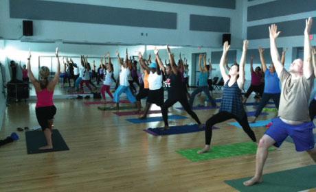 Yoga Class in Dance Rehearsal