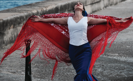 Flamenco dancer in red, white and blue flamenco dress
