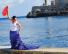 Flamenco dancer in red, white and blue flamenco dress