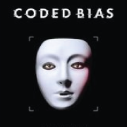 White Mask on Black Background with title in white: Coded Bias