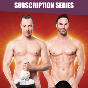 Two muscular naked magicians covering their sensitive areas with magician props