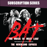 Meatloaf band members singing intensely with BAT logo in front of them