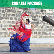 Flamenco dancer in red, white and blue dress